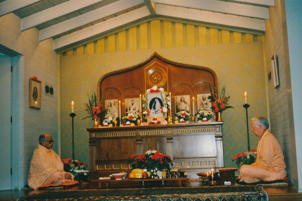 Swami Ganeshananda performs Holy Mother's Birthday Puja. Swami Shraddhananda(L)