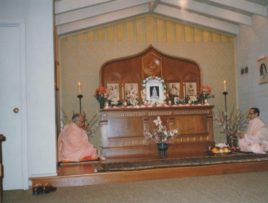 Swami Pramathananda doing Lord Buddha's Birthday Puja. Swami Shraddhananda(L)
