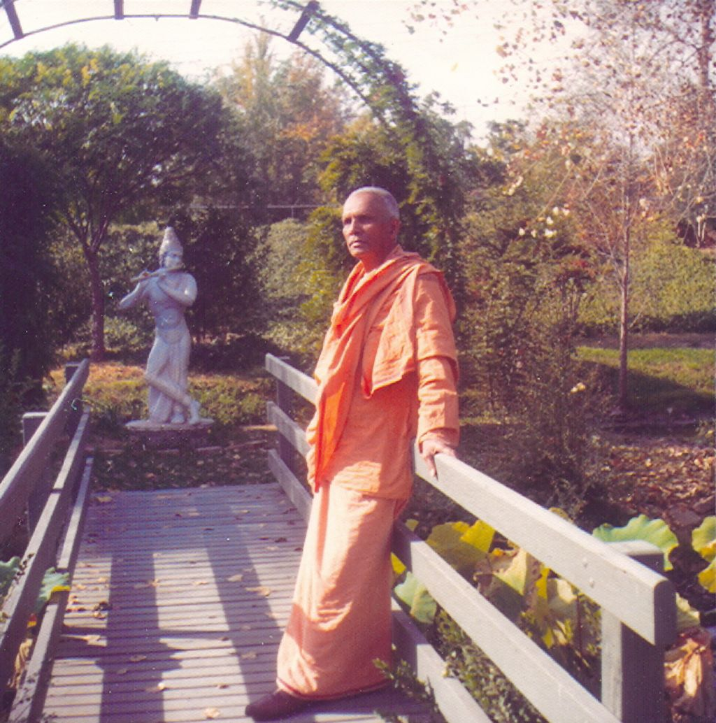 Swami Ranganathanandaji on the bridge of Krishna Pond