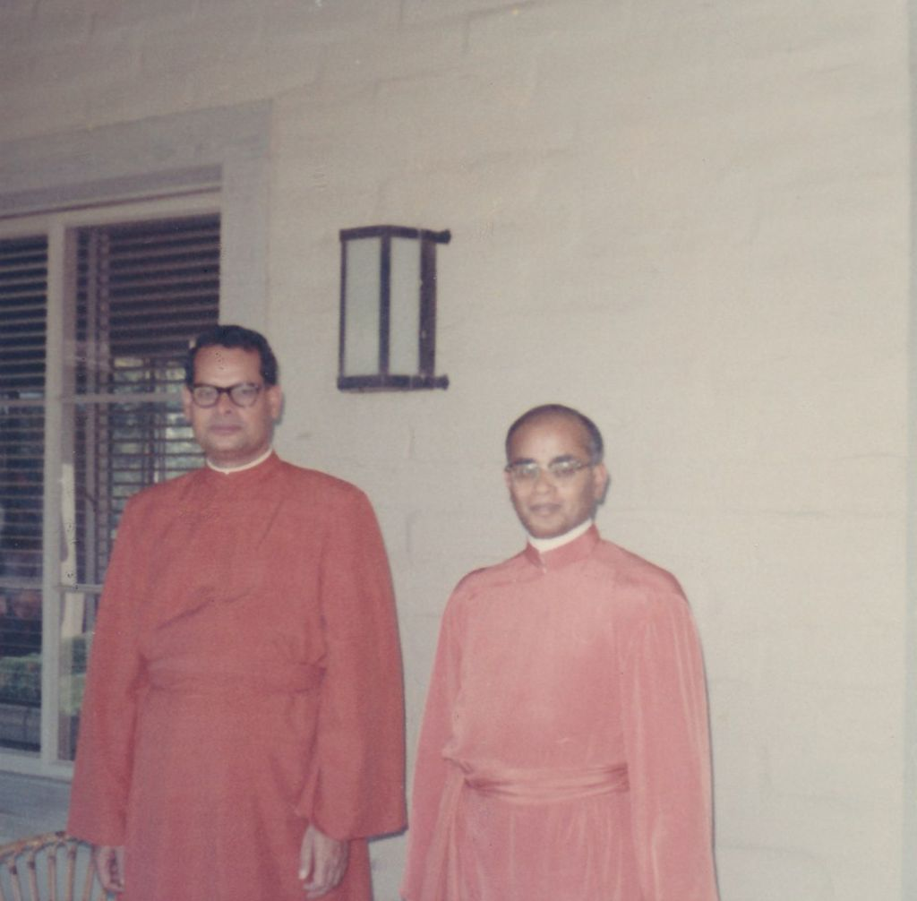 Swami Shraddhananda and Swami Swahananda in our loggia